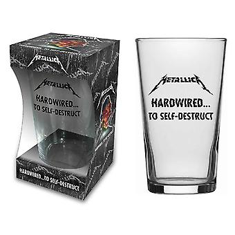 Metallica Beer Glass Hardwired To Self Destruct Band Logo new Official Boxed