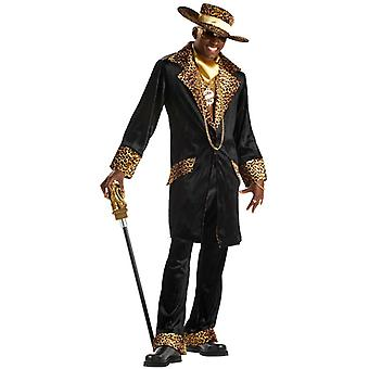 Supa Mac Daddy Black Leopard Pimp Gangster Men Costume