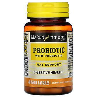 Mason Natural, Probiotique avec prébiotique, 40 capsules de légumes