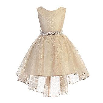 High Low Lace Dress with Rhinestones Belt Pageant Flower Girl Dress Taupe Siz...