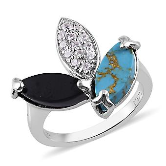 GP Spinel, Blå Turkis Leaf Design Ring i Sterling Silver , 3,75 Ct.