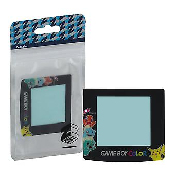 Pokemon edition replacement screen lens plastic cover with pikachu charmander bulbasaur squirtle for nintendo game boy color