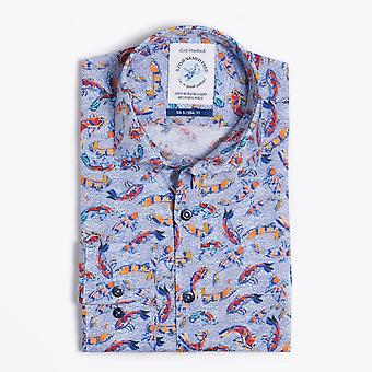 A Fish Named Fred  - Art Fishes Print Shirt - Blue/Multi