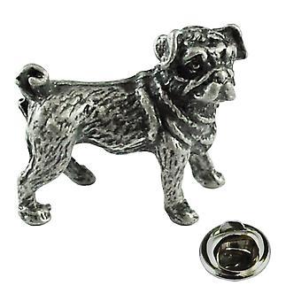 Banden Planeet Pug Hond Pewter Repel Pin Badge
