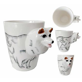 Uutuus lahjapakkaus lemmikkieläinten koira / kissa kahvia tai teetä keraaminen muki - valkoinen