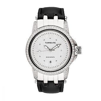 Torrente - Watch - Magnetic - White Dial - Steel Case - Black Leather Bracelet - Women's Diamonds 0.01 Carats