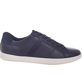 Ecco Womens Leisure Lace Up Casual Low Rise Leather Trainers Sneakers - Marine