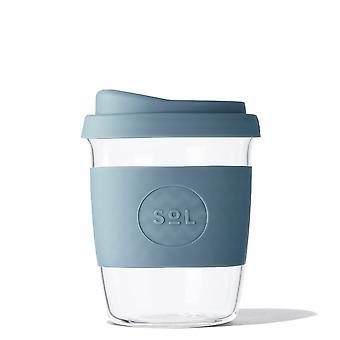8oz Blue Borosilicate Glass Travel Tumbler