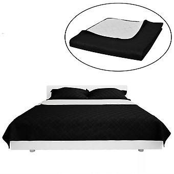 Two-sided quilt edging bed blanket black/white 230x260cm