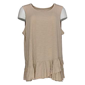 DG2 by Diane Gilman Women's Plus Top Beige Tank Cotton Sleeveless 725-087