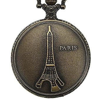 DEFFRUN Vintage Eiffel Tower Padrão PARIS Chain Retro Pocket Watch