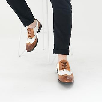 Mister Carlo Monty Ii Mens Leather Brogue Lace Ups Tan/white