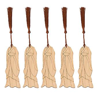 5 x Hanfu Clothing Bookmark Bamboo with Brown Fringes Wood Color