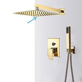 Wall Mount Ultrathin Rainfall Gold Shower -water Mixer Tap