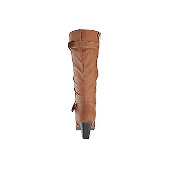 Rialto Womens Flame Fabric Pointed Toe Mid-Calf Fashion Boots