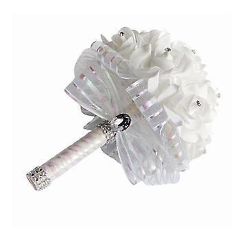 Satin romantische Hochzeit Bouquet, Brautjungfer Hochzeitsdekoration Schaum Blumen Rose