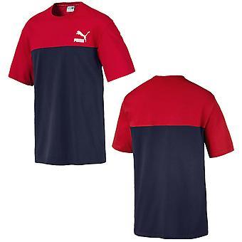 פומה רטרו שרוול קצר גברים טי צבע בלוק חולצת טריקו צי אדום 576380 06 A11C