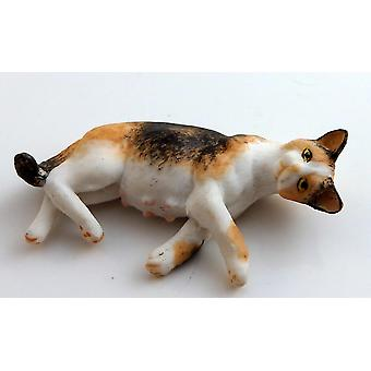 Dolls House 1:12 Scale Falcon Miniature Pet Animal Pregnant Tabby Cat Lying Down
