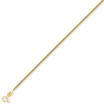 Jewelco London 9ct Yellow Gold - Tightly-linked Classic Curb Pendant Chain Necklace - 2.1mm gauge