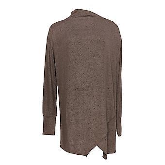 Anybody Women's Sweater Hacci Knit W/ Snaps Shawl Cardigan Brown A367664