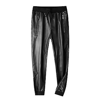 Leather Superior Quality Elastic Waist Jogger Pants