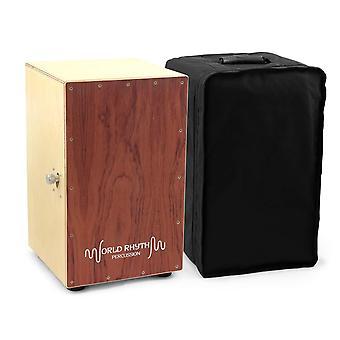World rhythm caj2-br cajon - full size cajon with adjustable snare, padded gig bag and cushion - bro