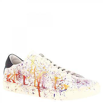 ليوناردو أحذية الرجال & apos;ق أحذية رياضية أزياء مصنوعة يدويا في جلد العجل الأبيض مع تأثير متعدد الألوان