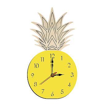 Creative fruit pineapple wall clock acrylic wood clock for livingroom children bedroom cartoon decorative