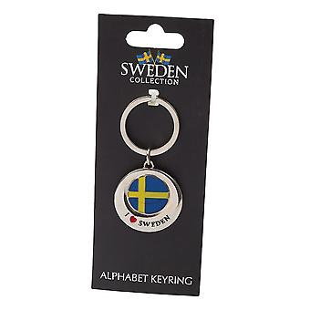 Bandeira de lembrança de chaveiro que amo a Suécia