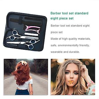 Barber Hairdressing Tool Set Flat Tooth Clipper Curved Finger Rest Scissors