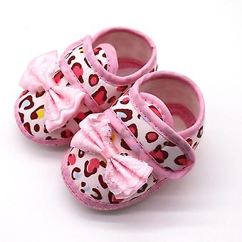 Baby Leopard Print Bow Pre Walker Bløde Sål Sandaler