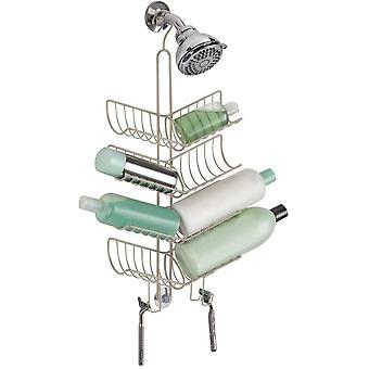 mDesign Hanging Shower Caddy - Practical No Drill Shower Shelves - Extra Wide Double Stainless Steel