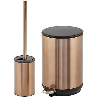 mDesign Set of 2 Bathroom Bin and Toilet Brush — Pedal Bin and Toilet Brush for Promoting