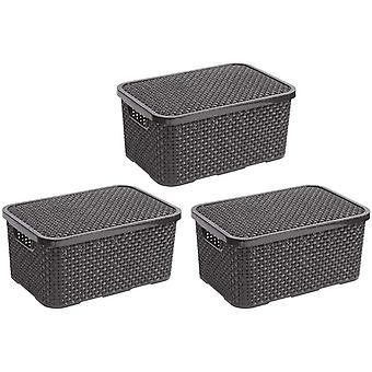 Wokex - Home essential Deckel Korb in Rattan Design 3er Set Grsse L 19l, Kunststoff PP, Anthrazit,
