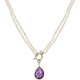 Pearls of the Orient Clara Double Strand Amethyst Drop Necklace - Purple