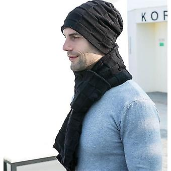 Men Knitted Long Scarf Hat Gloves 3 Piece Set Man