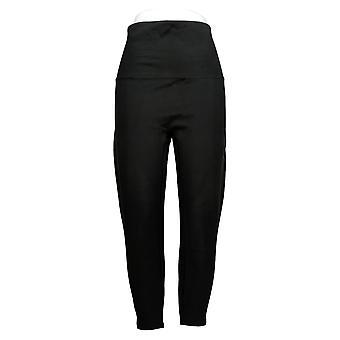 Spanx Petite Leggings Ankle Length Ponte Hem Slit Black Jogger A369379