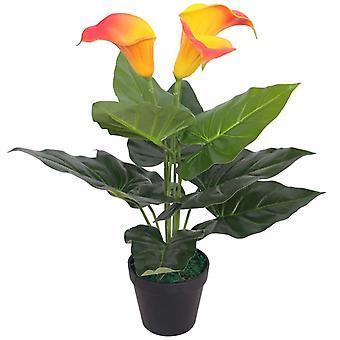 vidaXL Keinotekoinen Calla Lily potilla 45 cm punainen ja keltainen
