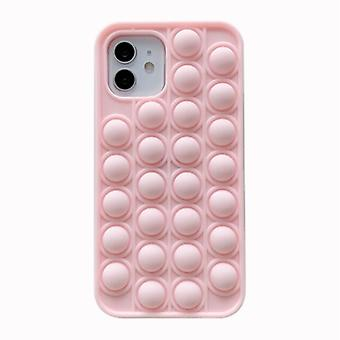 N1986N iPhone 12 Pro Pop It Case - Silicone Bubble Toy Case Anti Stress Cover Pink