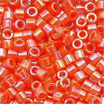 Perline di semi Miyuki Delica, taglia 10/0, 8 grammi, arancione opaco AB DBM0161