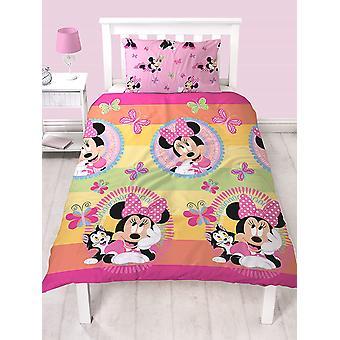 Minnie Mouse Butterflies Single Duvet Cover and Pillowcase Set