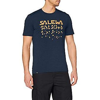 Salewa Puez Híbrido 2 M Seco, Camiseta Va men, Azul (Premium Navy Melange), 48/M