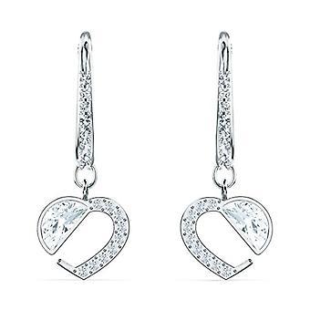 Swarovski Hear Heart earrings, white, rhodium plated