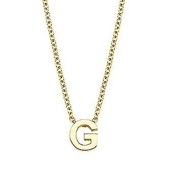 Amor Halsband med unisex hänge, bokstav G, Brev, rostfritt stål pläterat gult guld