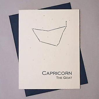 Capricorn Constellation Zodiac Sign Birthday Card
