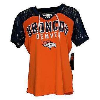 NFL Dames Top Lace Up Soft T-Shirt Met Korte Mouwen Oranje A311204