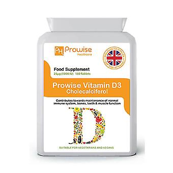 Vitamin D 1000iu 180 Tablets | Suitable For Vegetarians & Vegans | Made In UK by Prowise