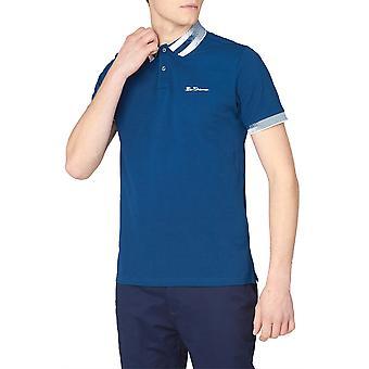 Sea Blue Patterned Trim Polo Shirt
