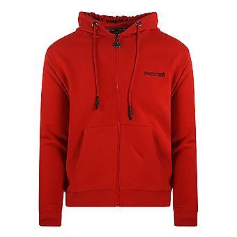 Roberto Cavalli Crest Röd tröja med huva