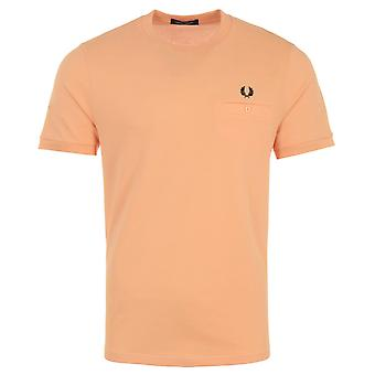 Fred Perry Pocket Detail Pique T-Shirt - Light Coral